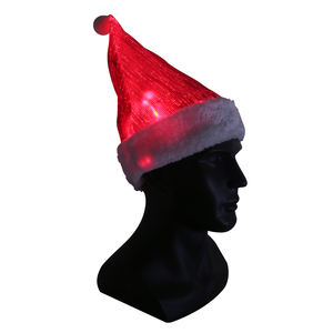 2018 LED lighting fiber optic luminous santa claus Christmas hats