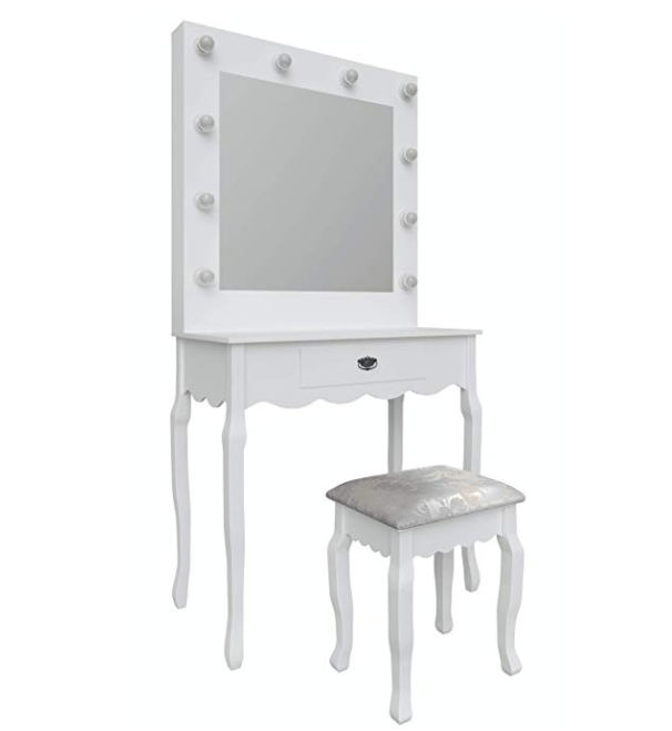 Hollywood Mirror Vanity Dressing Table with Light Up with Stool + 10pcs LED Light Bulb | Make up Station