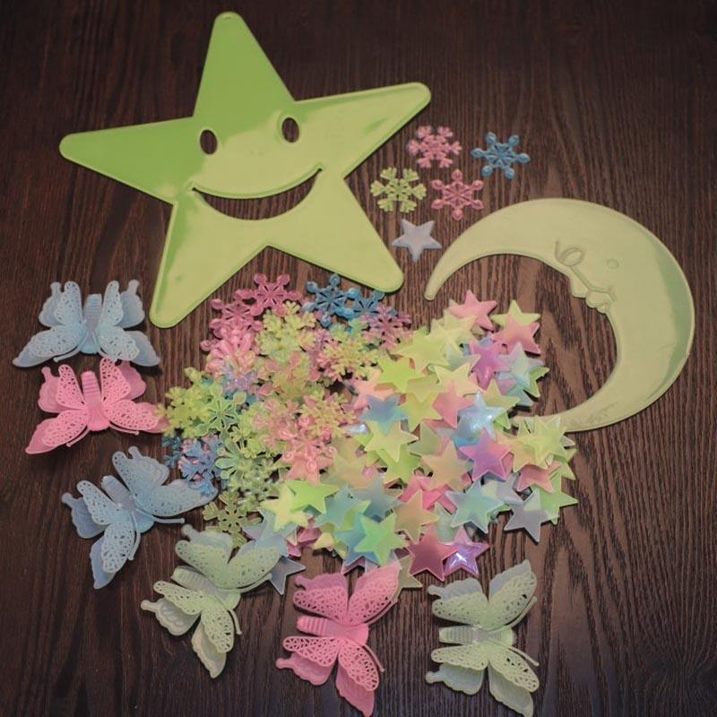 Beautiful Set Fluorescent 3D Glow In The Dark Moon Stars Wall Stickers