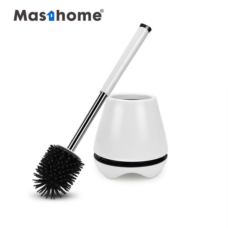 Masthome Highly efficient soft TPR Bathroom Clean Brush plastic Toilet silicon bowl brush set with holder