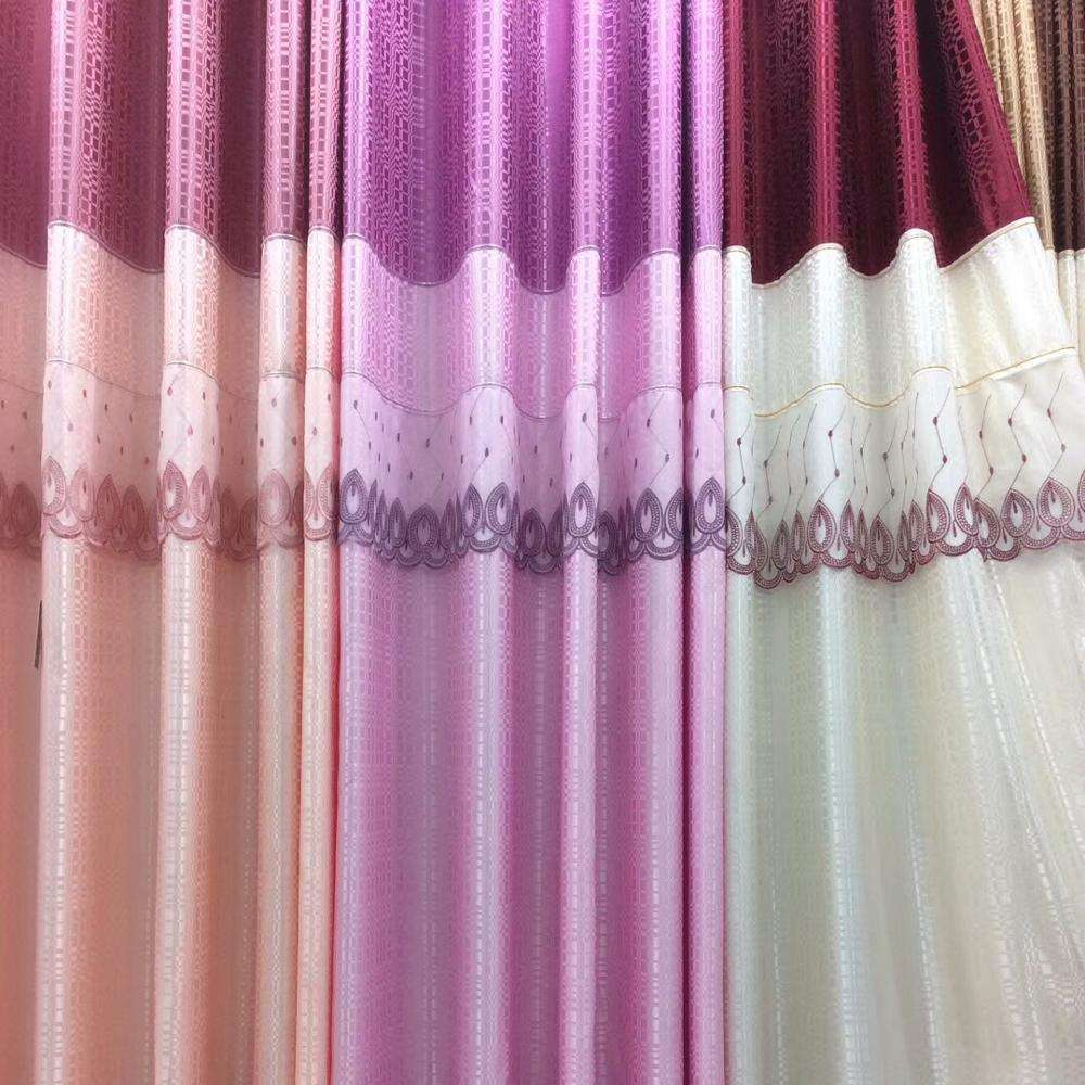 Sewing joint embroidery half blackout curtain fabric children's kids window eyelet curtain ring top lace curtain