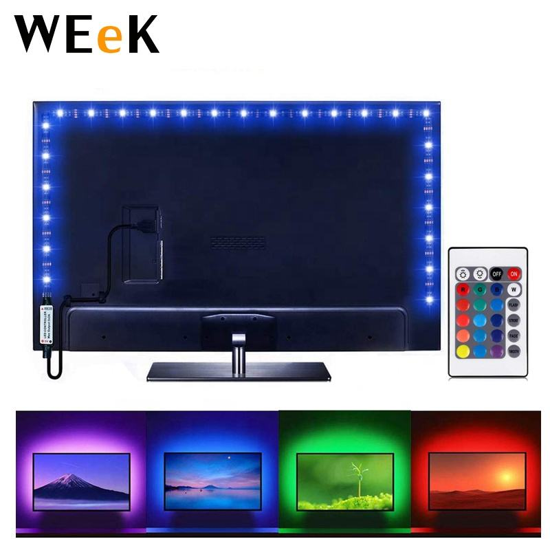 RGB LED USB Flexible 5V LED Strip Light TV Backlight WL-USB24K-01 100cm LED Strip + 24keys Remote Controller + 100cm USB Cable