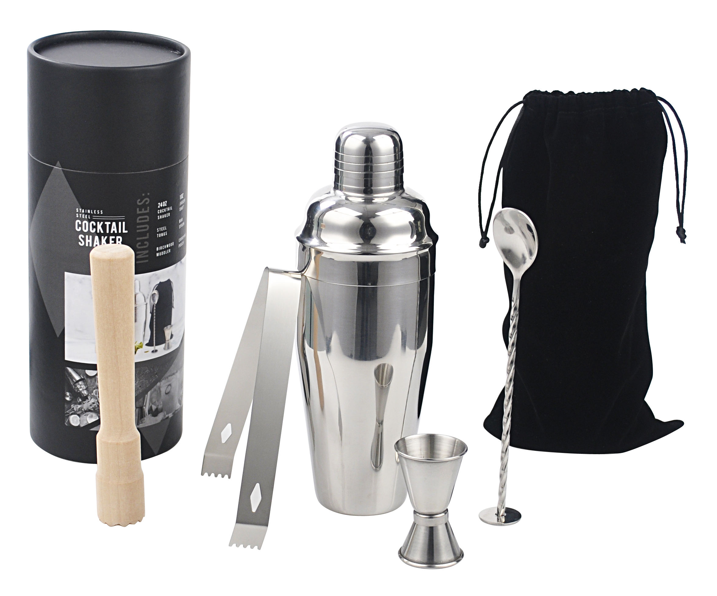 Grosir 750Ml Shaker Gift Set Cocktail Shaker Set Stainless Steel Minum Mixer Hadiah Bar Set Box Koktail <span class=keywords><strong>Aksesoris</strong></span> Bar Tools