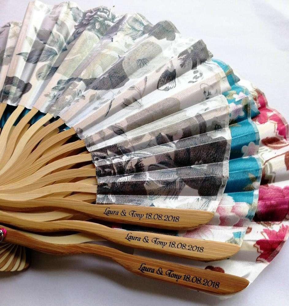[I AM YOUR FANS]Wedding holiday gift High-grade silk fabric custom highest quality bamboo hand fan