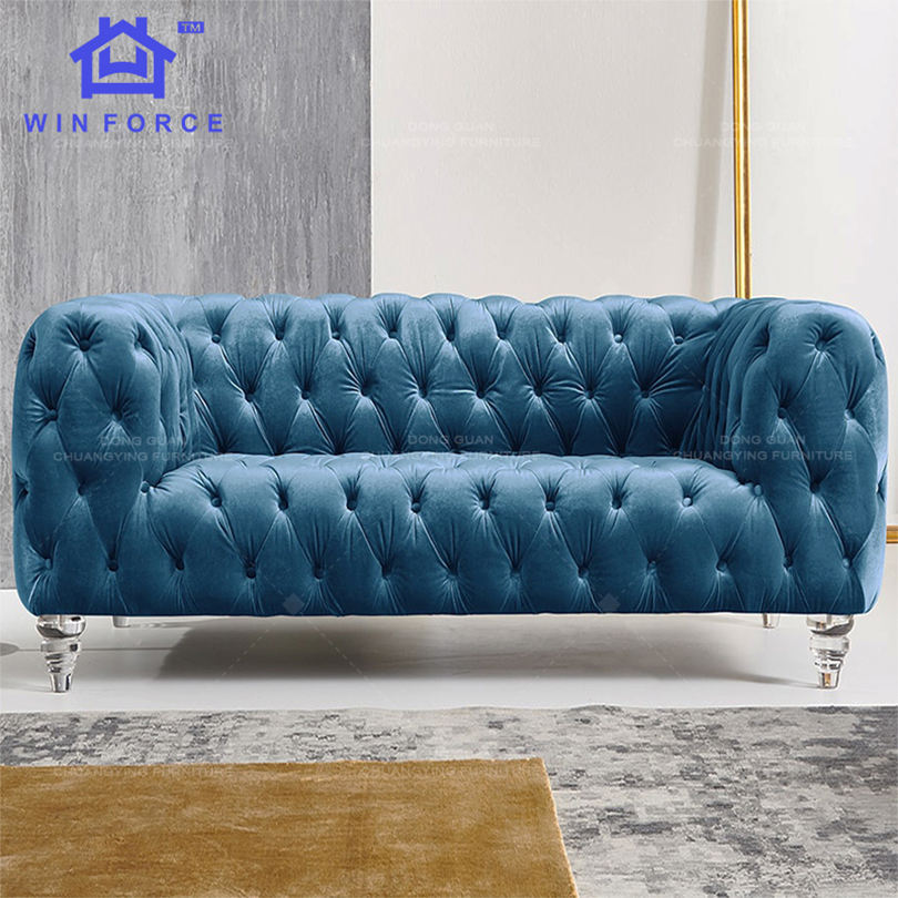 Customized Office Furniture Fabric Velvet Tufted Blue Modern Multicolor Chesterfield 2 Seater Sofa