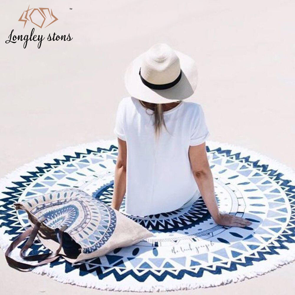 Custom Printed Mandala High Quality Microfiber Round Beach Towel