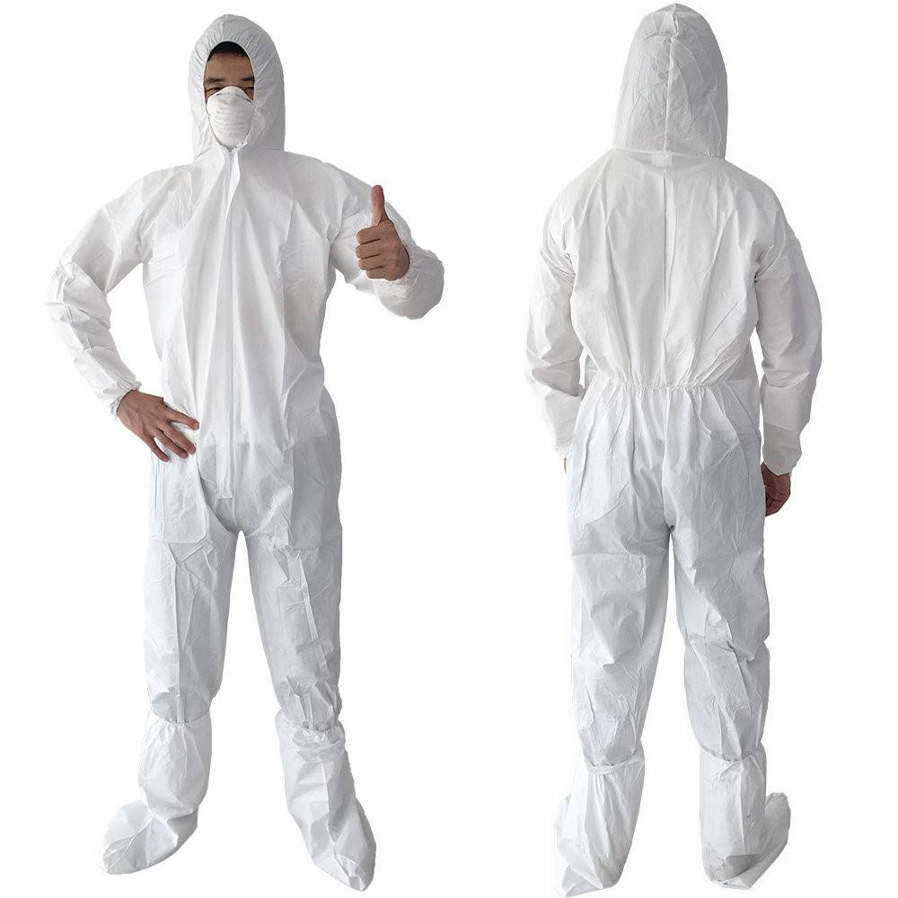 Free Samples Cheap White Hooded Microporous Disposable Coverall