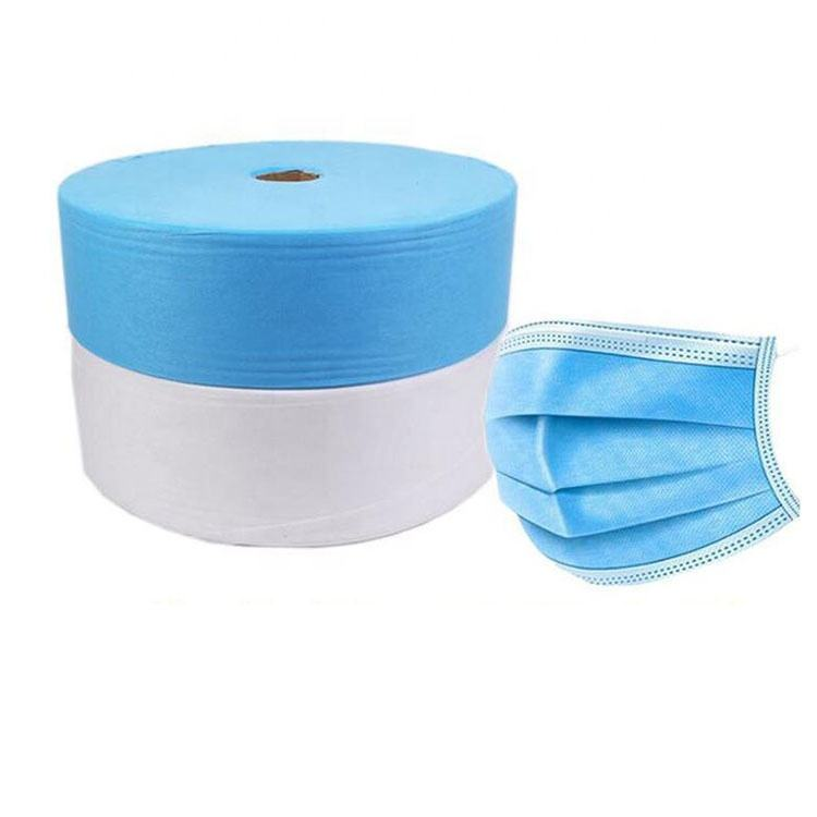 Mask Nonwoven Fabric WHITE/BLUE SS Nonwoven Fabric For Face Masks 25gsm