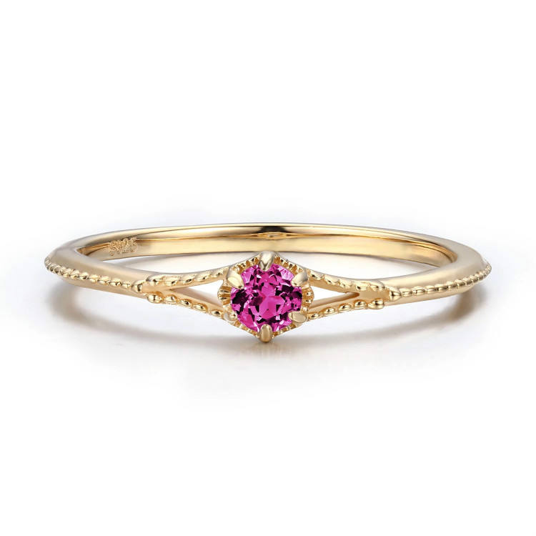 New Design Ladies Finger Ring Angel'S Glimpse Pink Tourmaline Color Of Cubic Zircon Ring