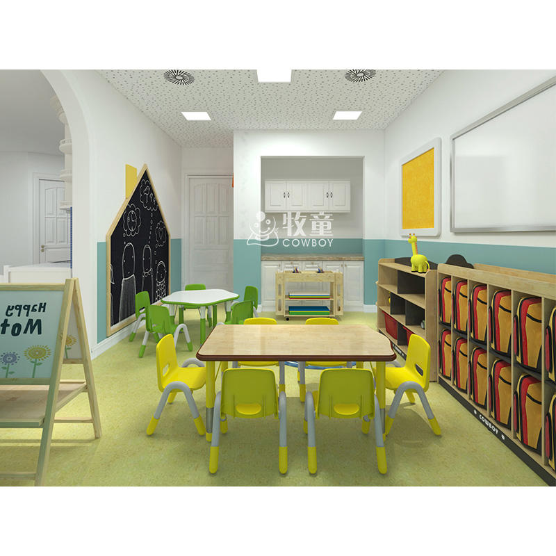 En71 Wood Tables Kids COWBOY Hot Sale Kids Wooden Chair And Table Set Daycare Nursery School Kindergarten Supplies Play School Furniture