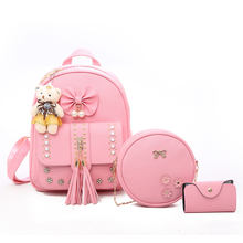 Korean Style Leisure Women School Backpacks Bags 3pcs/set for Teenage Girls Backbag With Bear