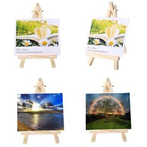 Wooden 8x15cm mini art easle with 10x10cm mini canvas table easel for painting and phone