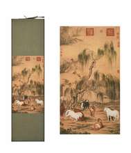 Wall Art Scroll Silk Painting Craft Calligraphy for Gift Eight Gallant Horses