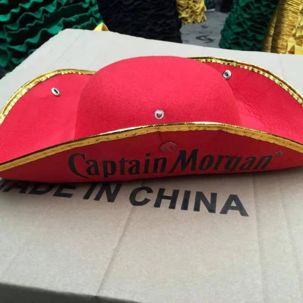 Printing Logo Felt Red Captain Morgan Pirate Hat With Button
