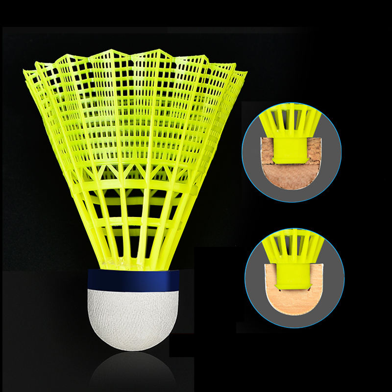 wholesale professional tournament 6pcs high quality yellow brand outdoor nylon badminton shuttlecock