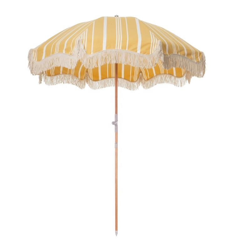 Wholesale Luxury Sun Outdoor Parasols Umbrellas, Manufacturer Custom Cheap Wooden Cotton Beach Umbrella With Tassels