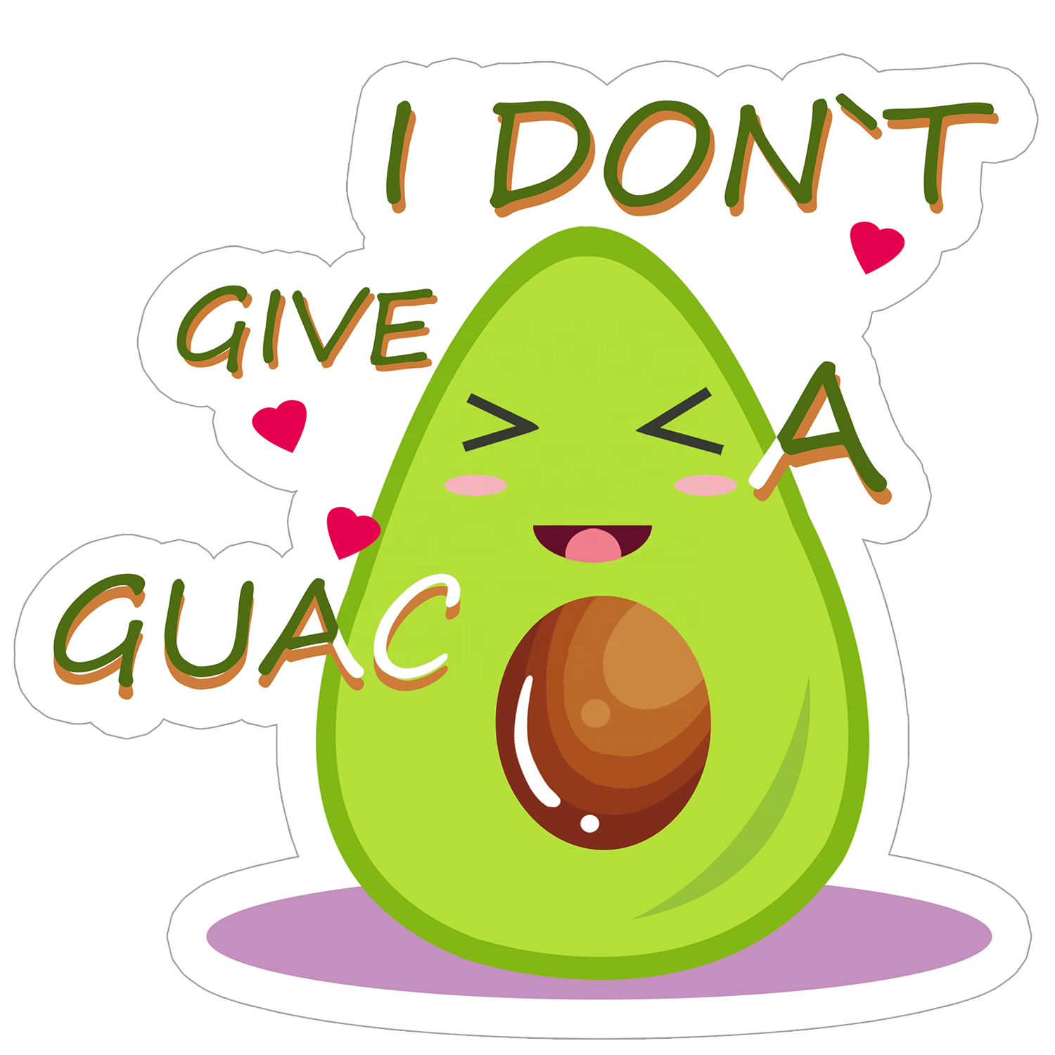 Custom Die Cut Roll Labels by StickerBeats, Custom Stickers I Don't Give Guac, Laptop Skateboard Water Bottle Decorative Sticker