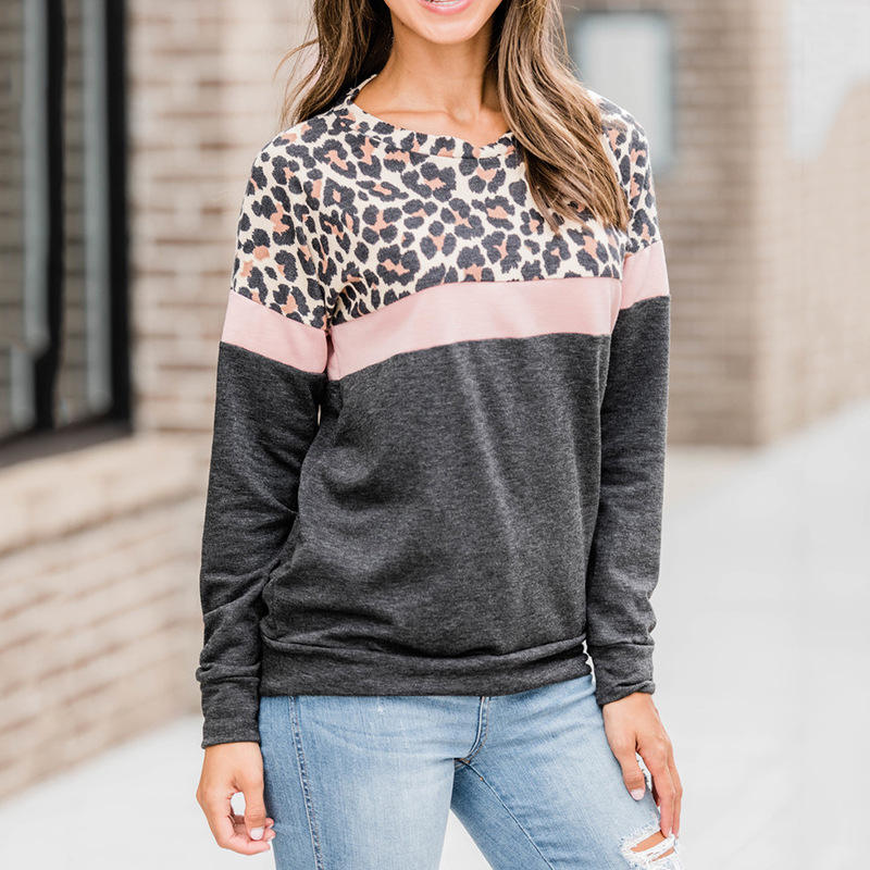 Women's Casual Long Sleeve Crewneck Sweatshirts Color Block Leopard Print Pullover Tops