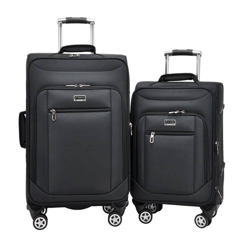 "Good quality 20""24"" two pieces trolley luggage set expandable nylon travel luggage spinner wheels suitcase carry-on luggage"