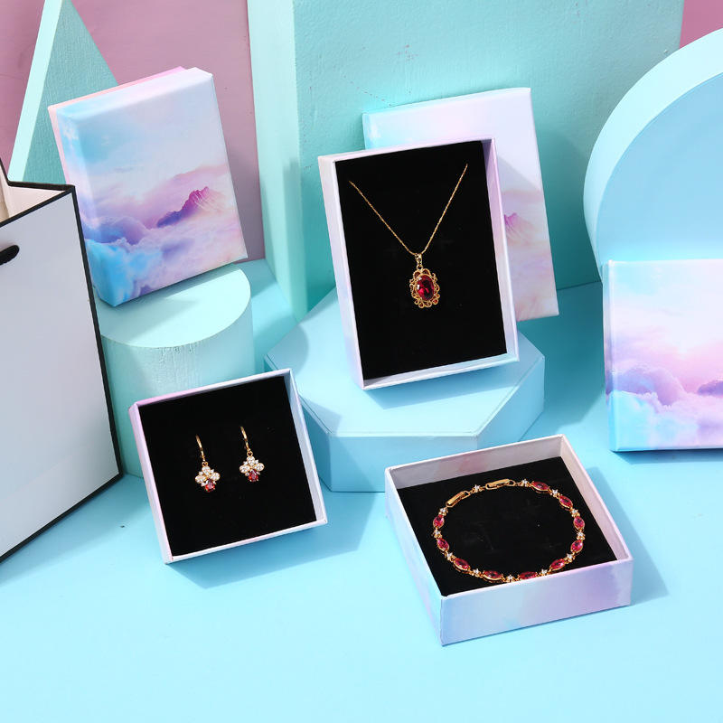 Necklace bracelet earring set container paper custom jewelry box with logo exquisite jewelry packaging box