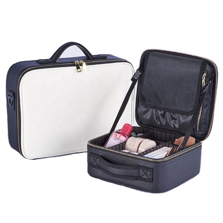 Travel Waterproof Women Beauty Tote Pu Leather Cosmetic Bag Makeup train case With Brush Holder