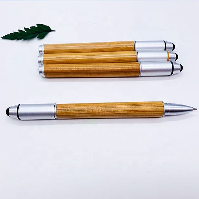 2020 new design environmentally friendly promotion bamboo touch ballpoint pen