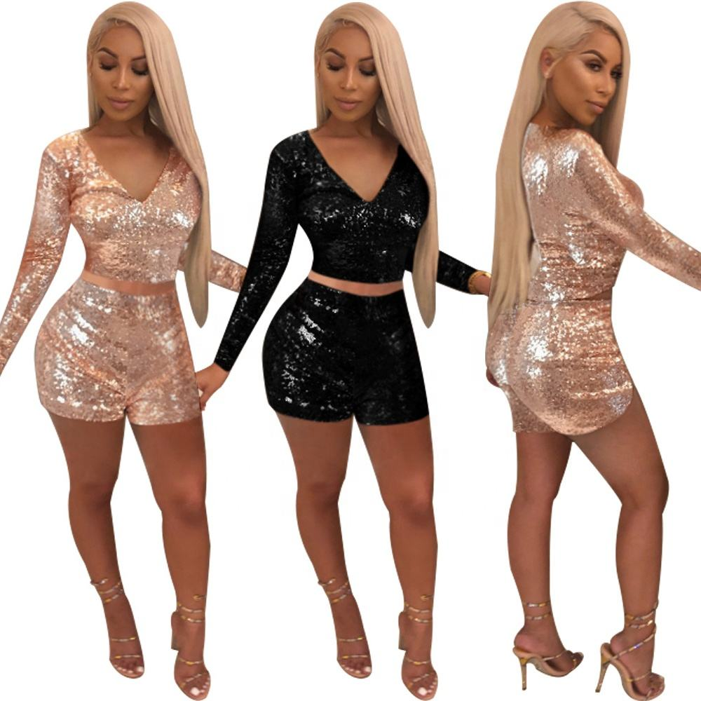 2019 custom 2 colors long sleeve sequin two piece deep v-neck top and shorts
