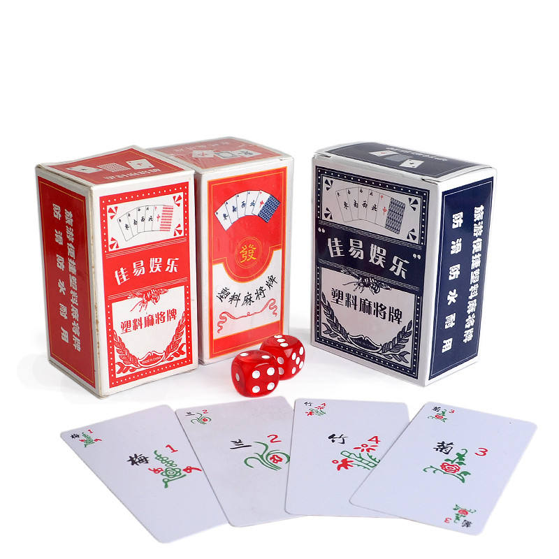 Waterproof Portable Paper Mahjong playing cards set with 2 Acrylic dices&Flannelette bag Travel Mahjong Poker Card