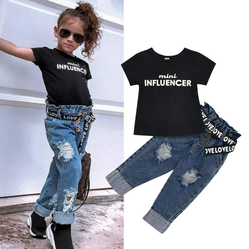 1-6Y Summer Toddler Kids Baby Girl Clothes Sets Letter Tops T-Shirt Denim Pants Jeans Outfits Clothing