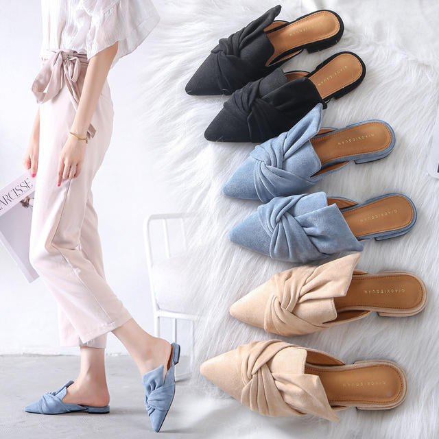 New Summer Women High Thin Heels Slip On Butterfly-Knot Pumps Pointed Toe Slippers Lady Sweet Shoes