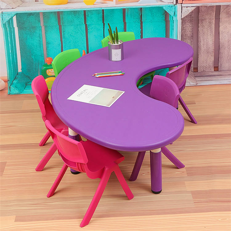 Primary Pre School Nursery colorful Daycare Furniture Child Half Moon table Kindergarten Preschool Chair And Table For Kid