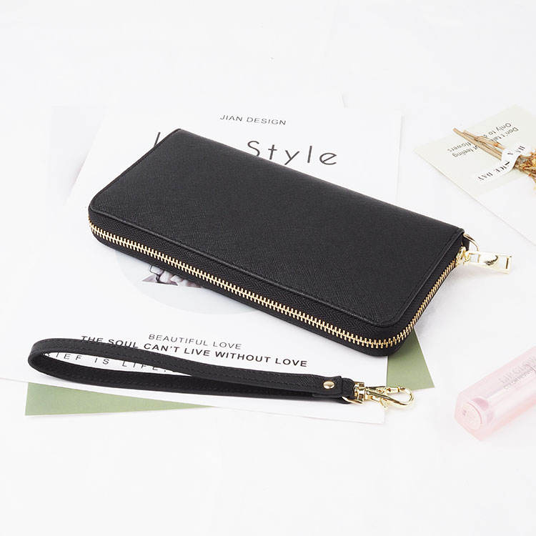 Fashion custom black long zipper purses saffiano genuine leather wallet women