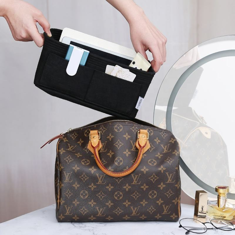 LV Speedy boston pillow inner bag luxury Purse compact cosmetic travel tote bag in bag Organize Insert Handbag for women