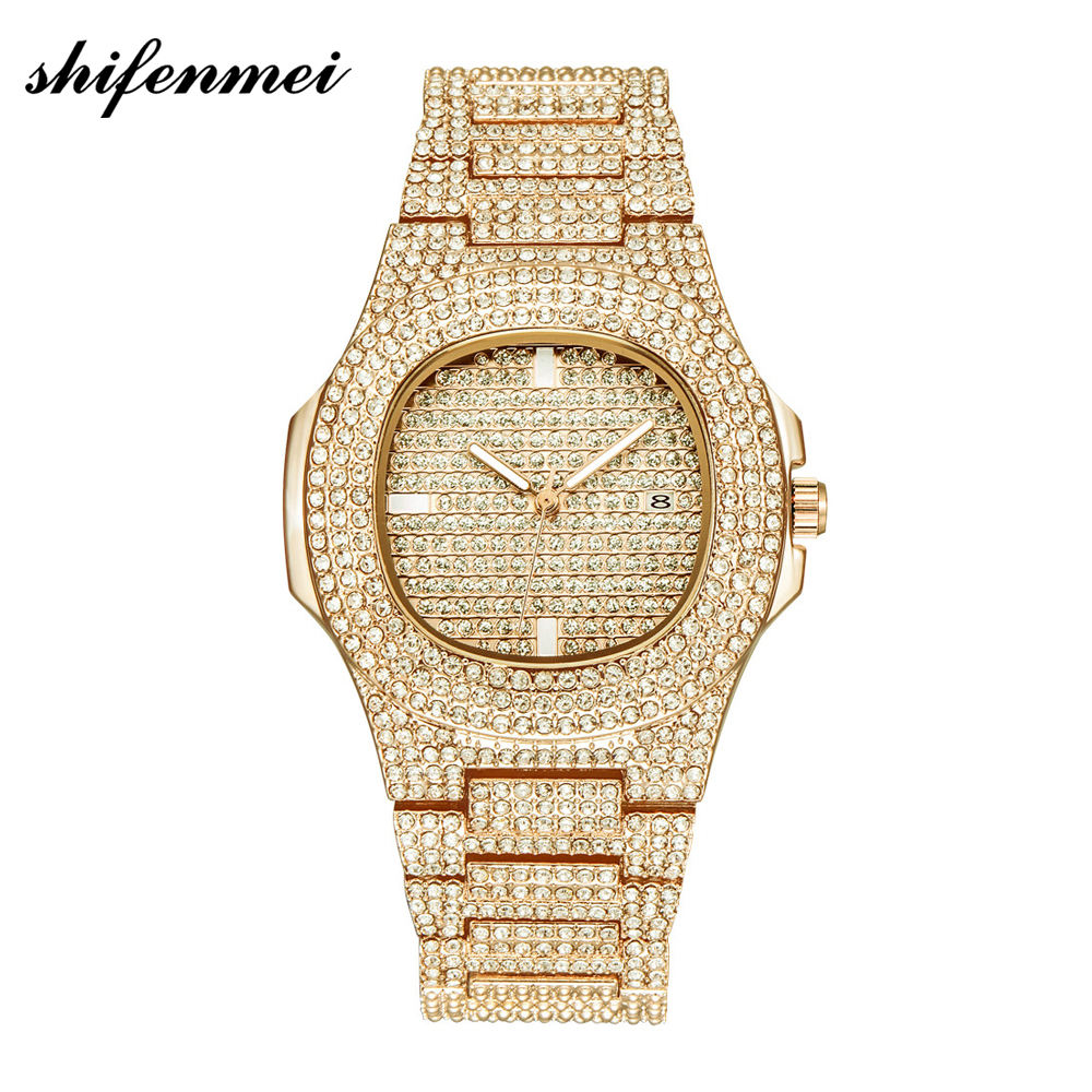 Dropshipping Custom Men Fashion male clock Full Diamond watch band Date Quartz Watch Gold Stainless Steel Business Mens Watches