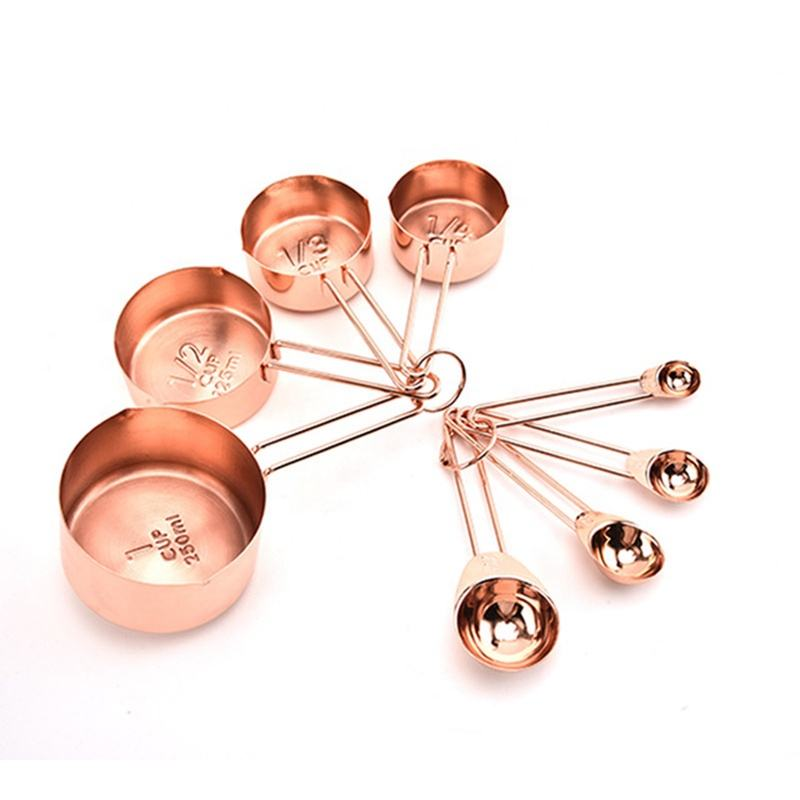 Rose gold Stainless Steel Baking Measuring Cups and Spoons set of 8