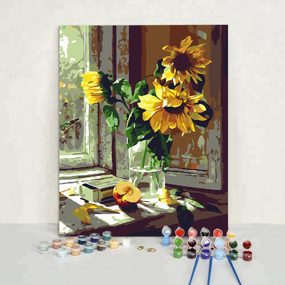 Acrylic Paint Beautiful Sunflower DIY Paint by Numbers Canvas Painting
