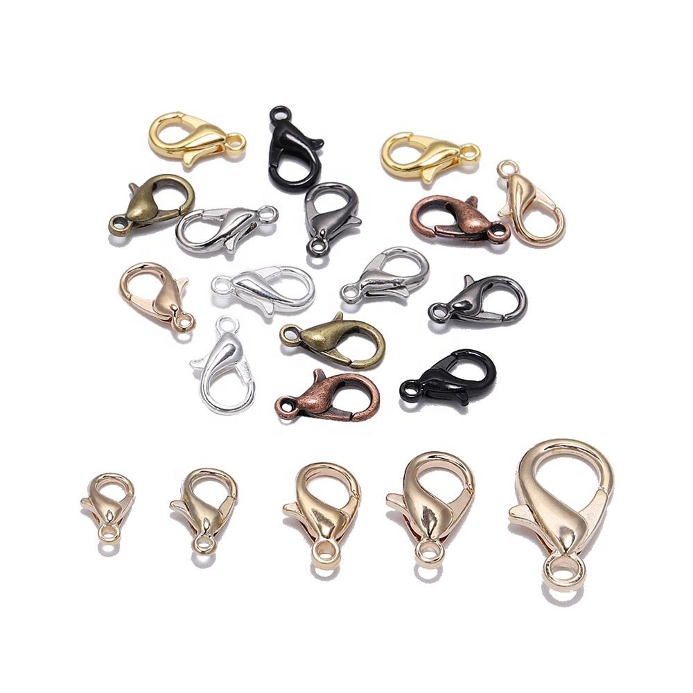 50pcs/lot Gold Silver Alloy Lobster Clasp Hooks For DIY Jewelry Clasp Findings Necklace Bracelet Chain Accessory Supplies