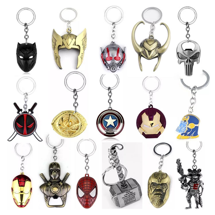 High quality llaveros marvel style design thor hammer keychain rich logo custom metal bottle opener avengers keychain suppliers