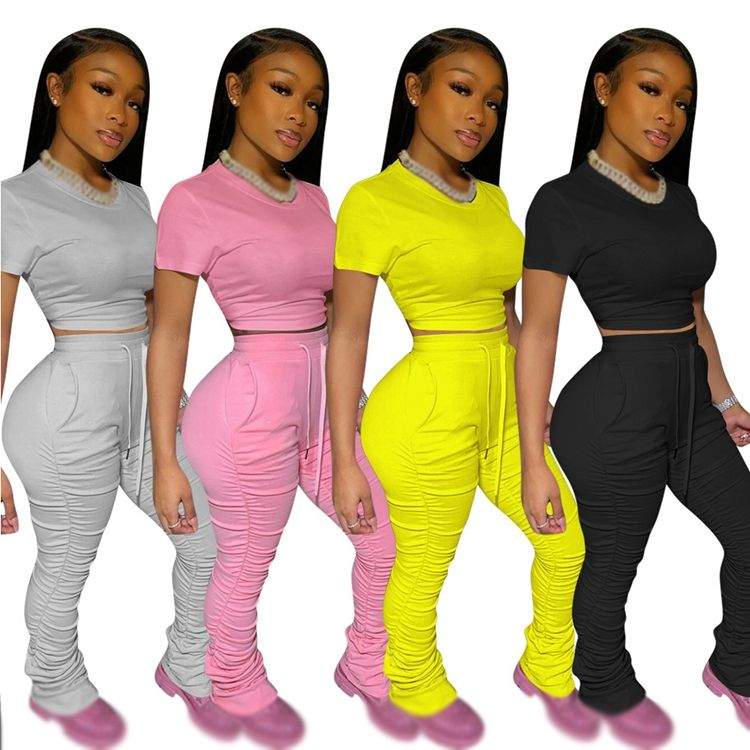 New arrivals women sexy pink two piece sets outfit women stacked pants