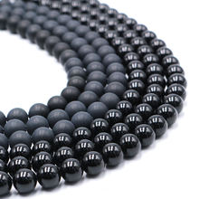 Natural Stone Black Agate Frosted Matte Stone Gem Round Onyx Highlight Loose Smooth Stone Strand for Jewelry Bracelet Making