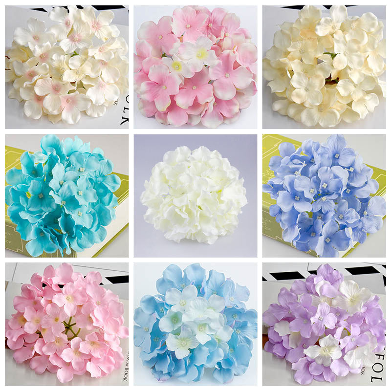 38 colors Wedding decoration real touch cheap silk large artificial hydrangeas flower heads for sale