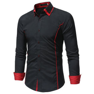 Maglie a Manica lunga Turn-over Del Collare Sottile Tops Camicia di Affari di Colore Solido Traspirante