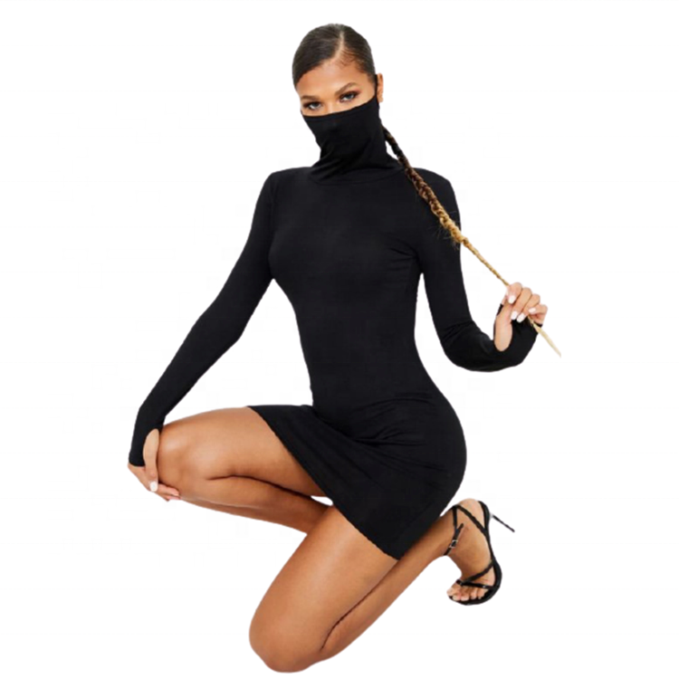 Womens Sexy Black Jersey Long Sleeve face cover Bodycon Dress