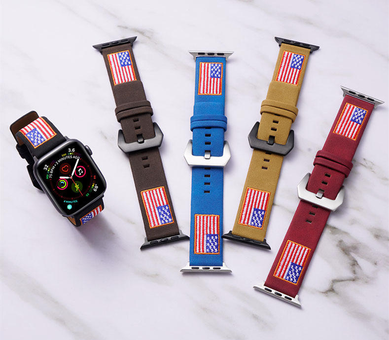 USA Embroidered Genuine Leather Watch Strap For Apple Watch Band Series 5
