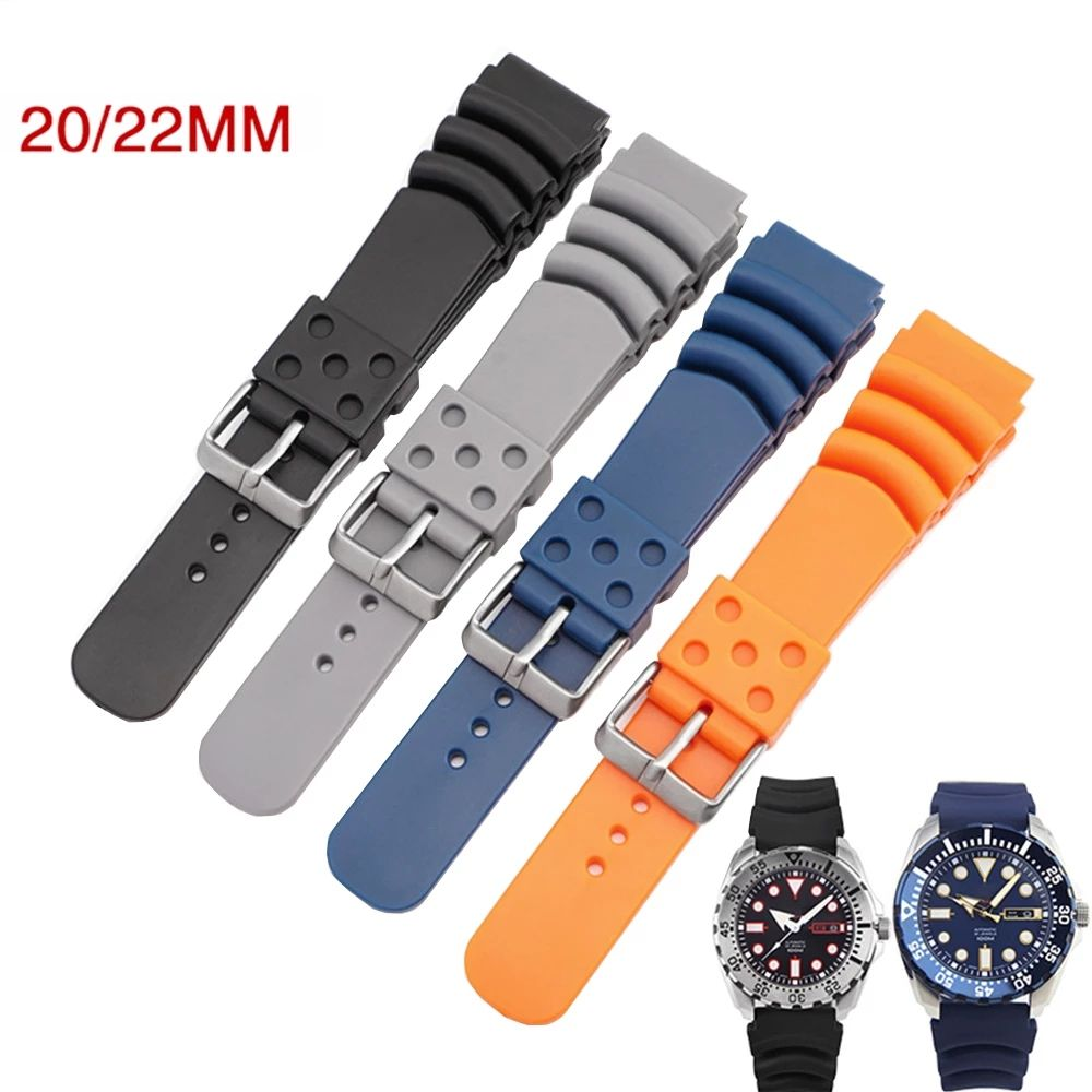 20mm 22mm Diving Rubber Watch Strap Men Waterproof Silicone Sport Wrist Band Bracelet Watchband for Seiko Diver Scuba for Casio