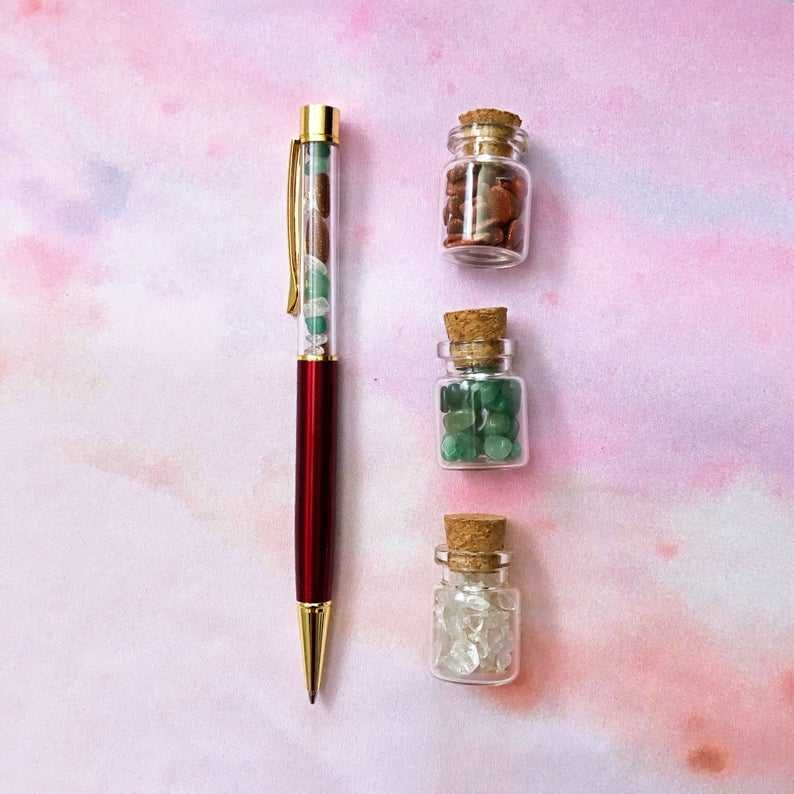 New healing stone quartz nature Intelligence Crystals Pen for Manifestation Journal Scripting Spiritual Magic Witchcraft Spells