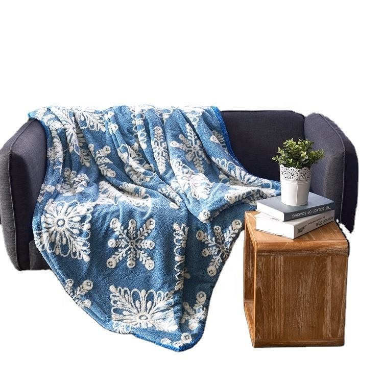 Jacquard cationic bed sheet 100%polyester sherpa fleece blankets for winter