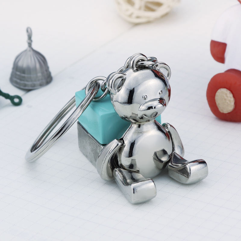 wholesale toy metal cute teddy bear keychain moving functions of the human body for wedding or birthday gifts