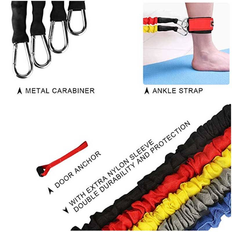 Latex Resistance Band Tube 11pcs Resistance Band Set Hot Sale Dropship 11pcs Latex Resistance Band Tube Set With Ankle Resistance Band