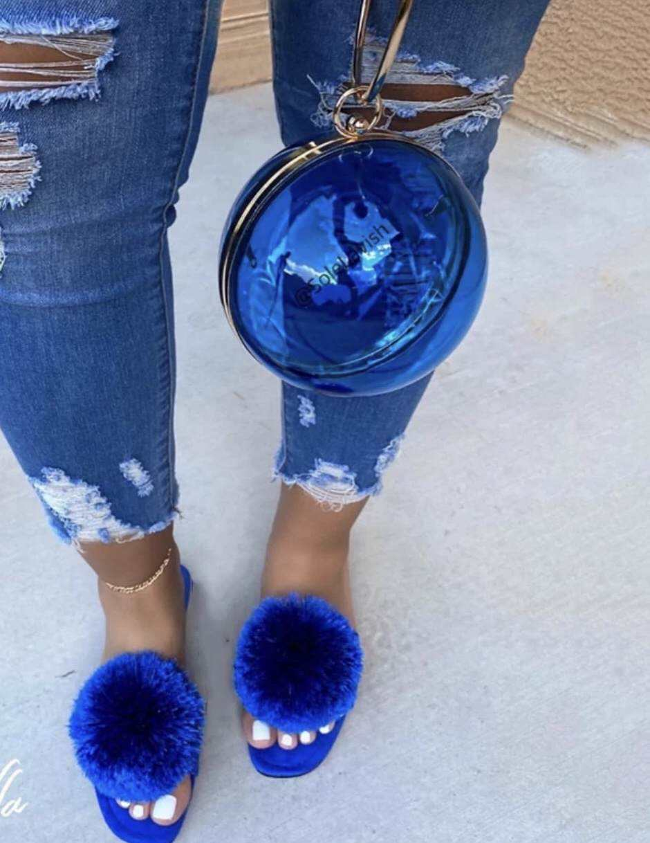 Transparent Colorful Round Handbag Slippers Ladies Female Round Ball Purse and Matching shoes fur sliders sandals